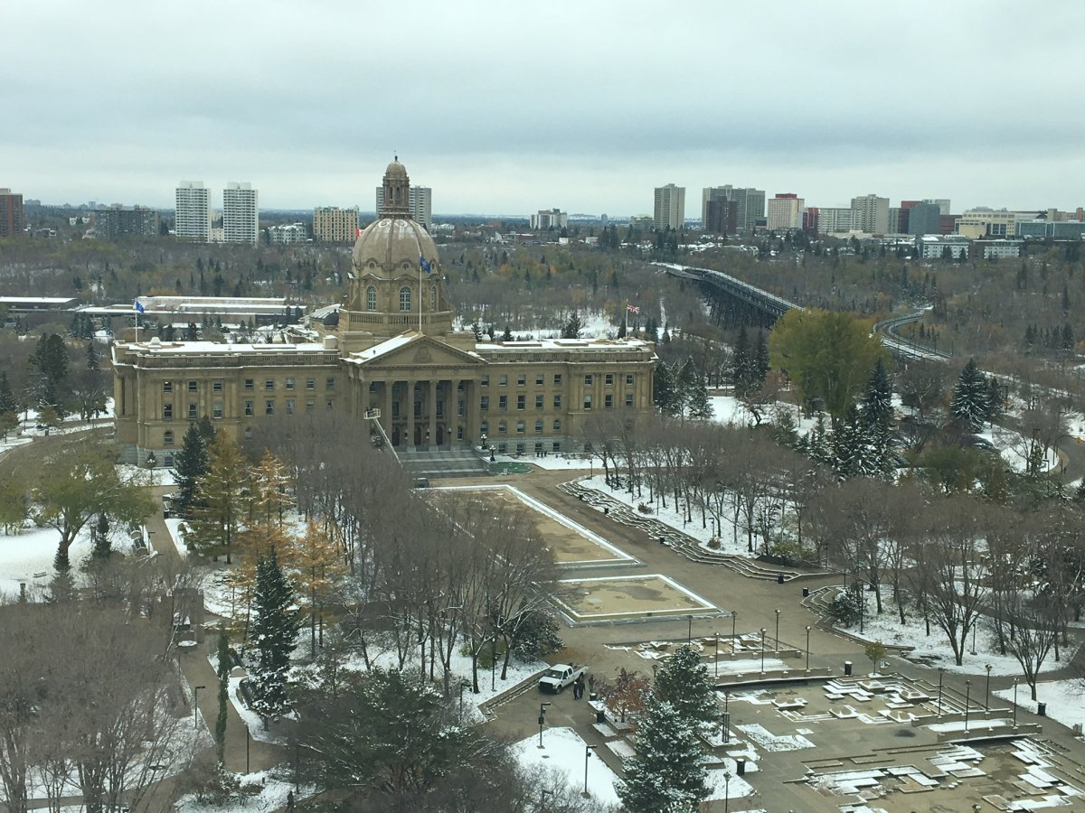 The view of the Alberta Legislature from the Federal Building. Oct. 10, 2018.