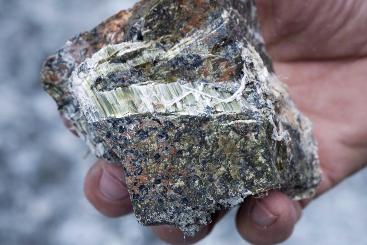 Francesco Spertini holds a chunk of chrysotile asbestos with his bare hands at the now closed Jeffrey mine in Asbestos, Que., in an August 10, 2016, file photo. The federal government is banning the use of asbestos in products.