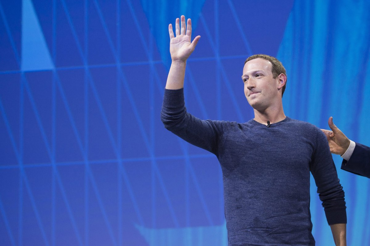 FILE - Facebook's CEO Mark Zuckerberg gestures and delivers his speech during the VivaTech (Viva Technology) trade fair in Paris, on May 24, 2018.