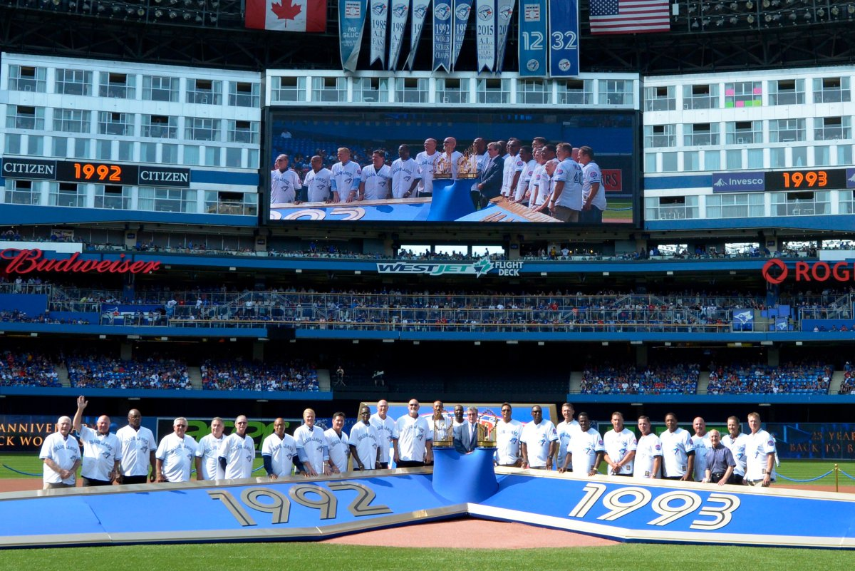 Members of the 1992 and 1993 World Series-winning Toronto Blue Jays teams are recognized on the 25th anniversary of their back-to-back championships before the game against the Tampa Bay Rays at Rogers Centre Saturday August 11, 2018 in Toronto.
