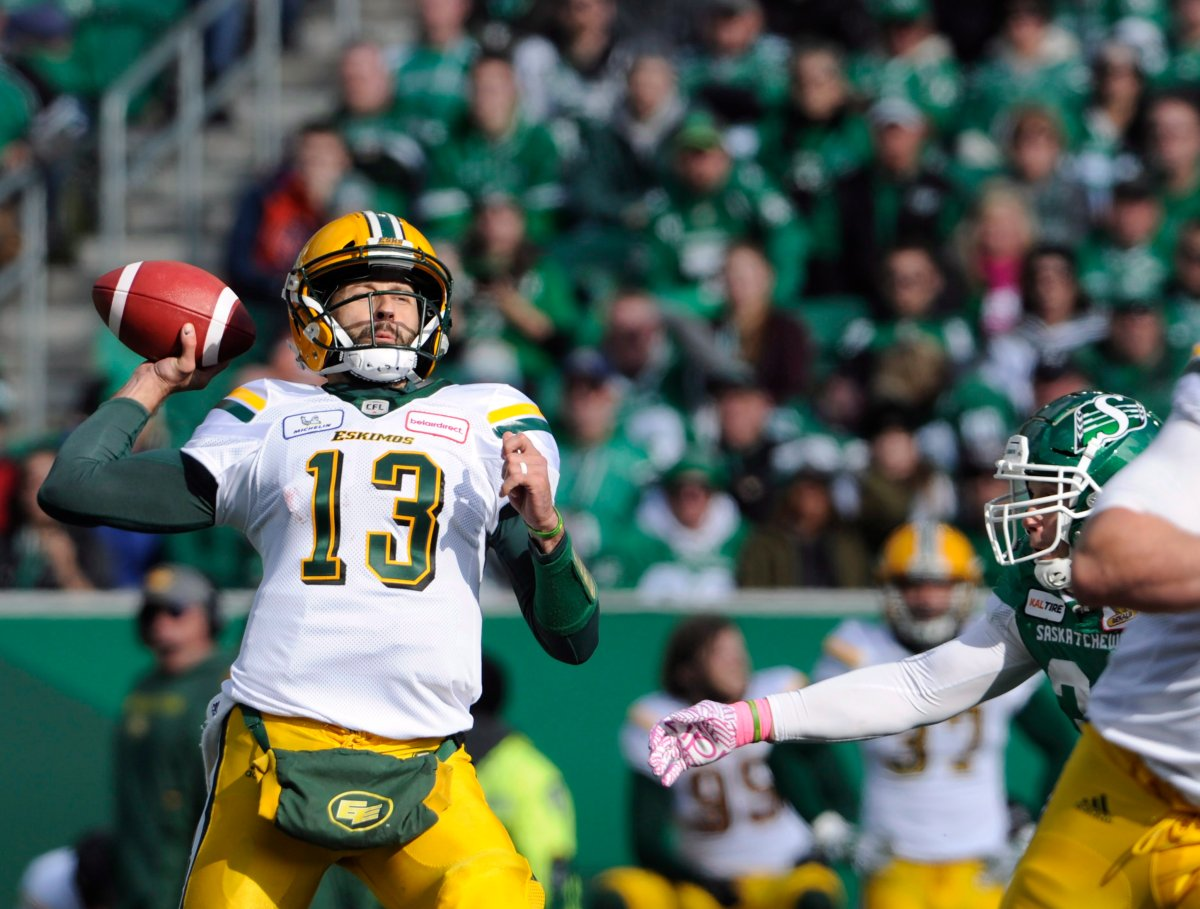 Edmonton Eskimos quarterback Mike Reilly attempts a pass during first half CFL action against the Saskatchewan Roughriders, in Regina on Monday, Oct. 8, 2018. The Edmonton Eskimos couldn't have picked a worse time to have a slump. The Saskatchewan Roughriders defeated Edmonton 19-12 on Monday, handing the Eskimos their third straight loss and sixth in eight games. And now with three regular-season games remaining, the Eskimos find themselves last in the West Division standings.