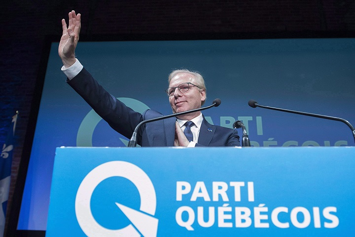 In this file photo, former Parti Québécois Leader Jean-Francois Lisée waves to supporters at PQ headquarters in Montreal, Monday, October 1, 2018, on election night in Quebec. The Parti Québécois has added a tenth seat at the provincial legislature after winning a recount in an eastern Quebec riding.