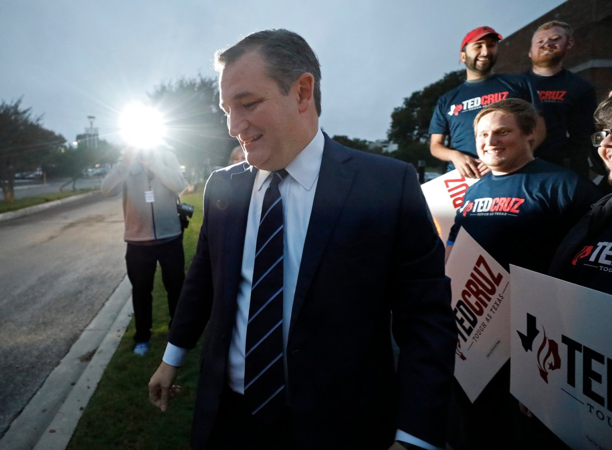 Senator Ted Cruz greets supporters before the start of the debate between candidate for the US Senate Beto O'Rourke and Senator Ted Cruz, in San Antonio, Texas, USA, 16 October 2018.