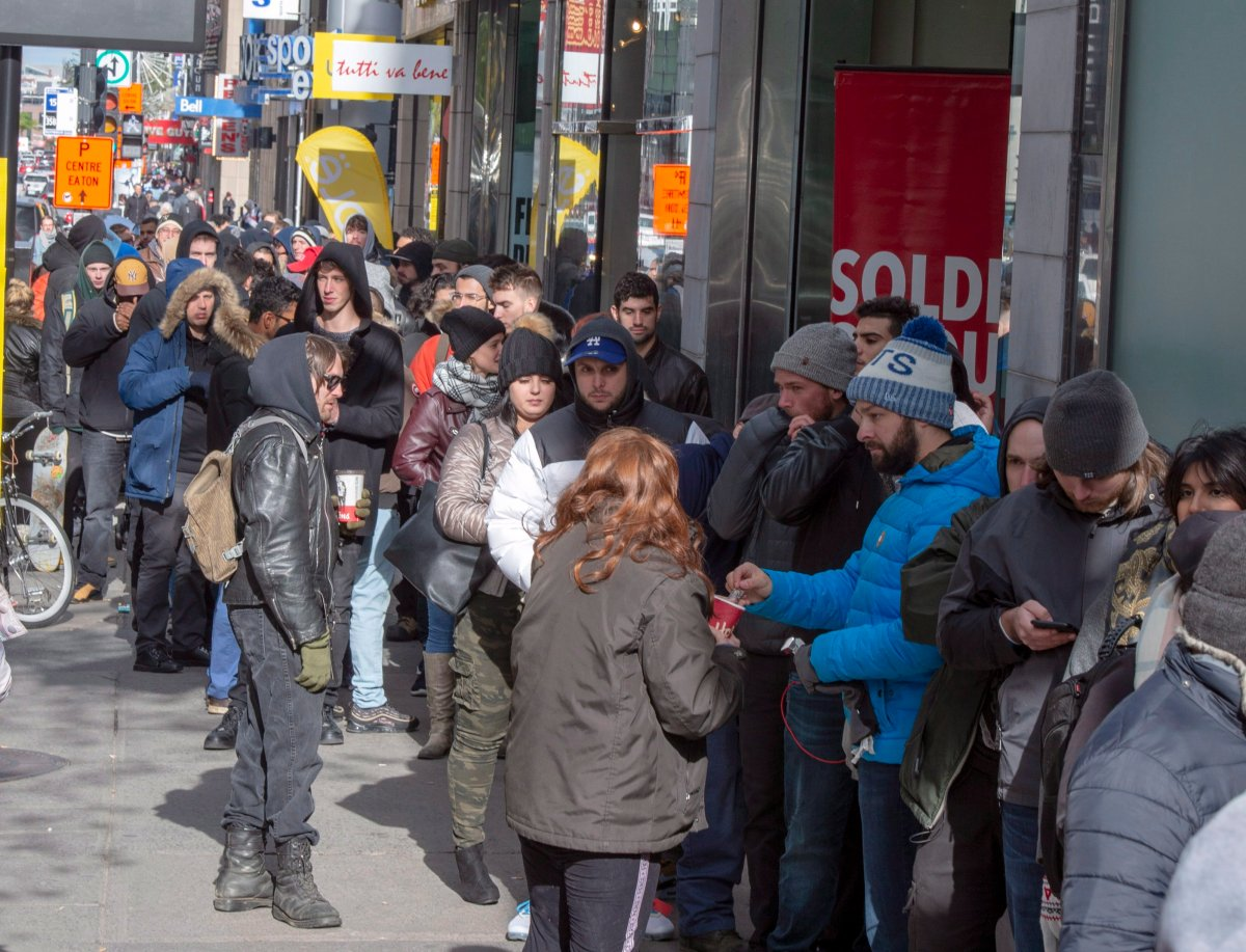 Customers lineup at a government cannabis store Thursday, October 18, 2018 in Montreal on the second day of the legal cannabis sales in Canada.