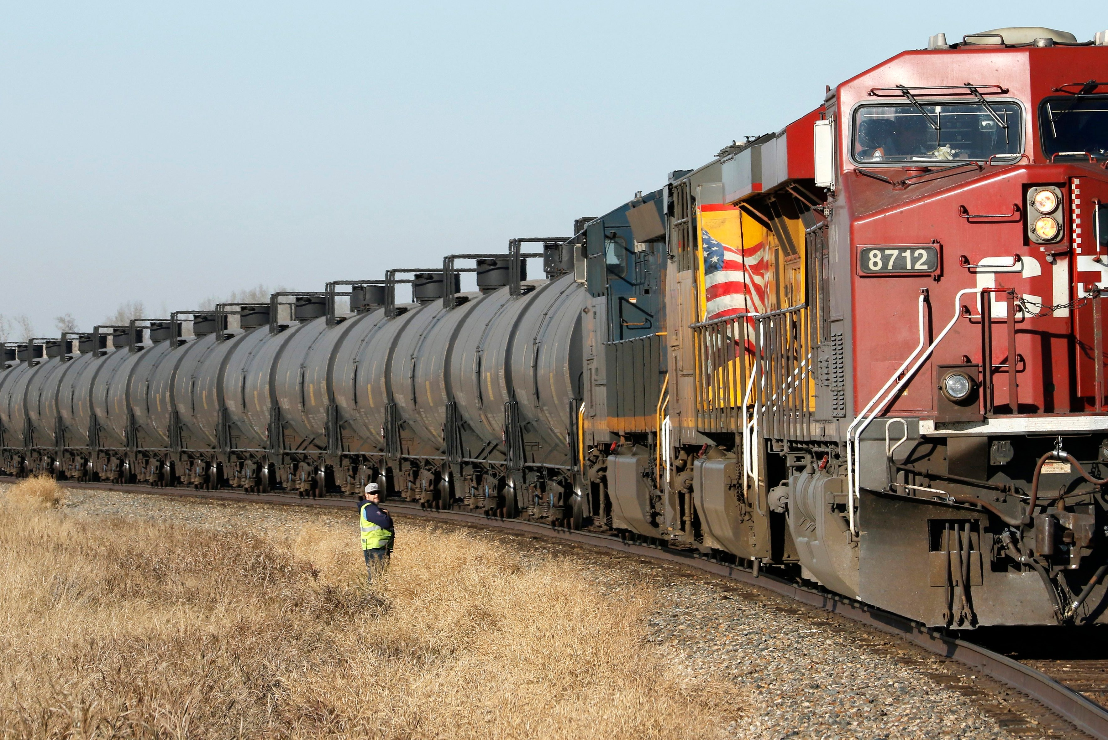 Crude oil, and other petroleum products, are transported in rail tanker cars on a Canadian Pacific Railway (CPR) train near Olds, Alberta, Canada on Tues., Oct. 23, 2018.