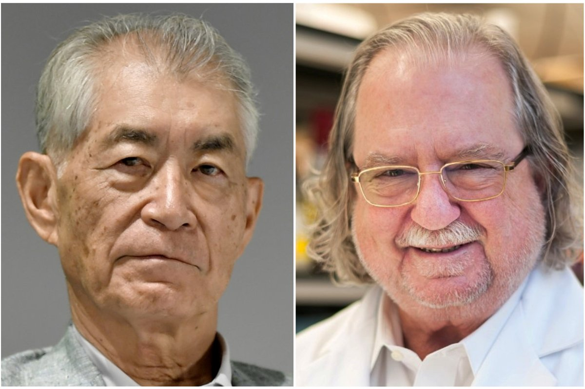 A combination photo shows Ph.D. James P. Allison of MD Anderson Cancer Center at The University of Texas in this picture obtained from MD Anderson Cancer Center at The University of Texas on October 1, 2018 (R) and Kyoto University Professor Tasuku Honjo in Kyoto, Japan in this photo taken by Kyodo September 17, 2018.