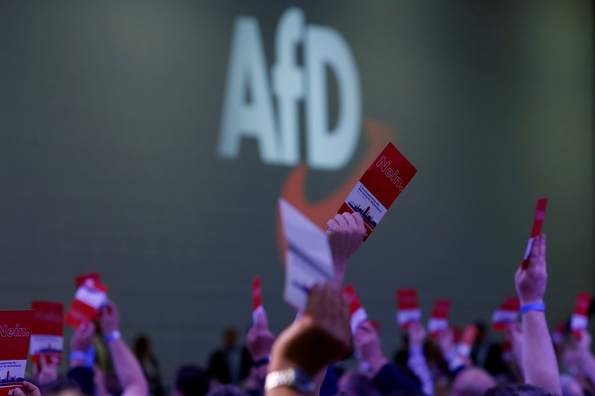 Participants vote during the Alternative for Germany (AfD) party congress in Augsburg, Germany, June 30, 2018.