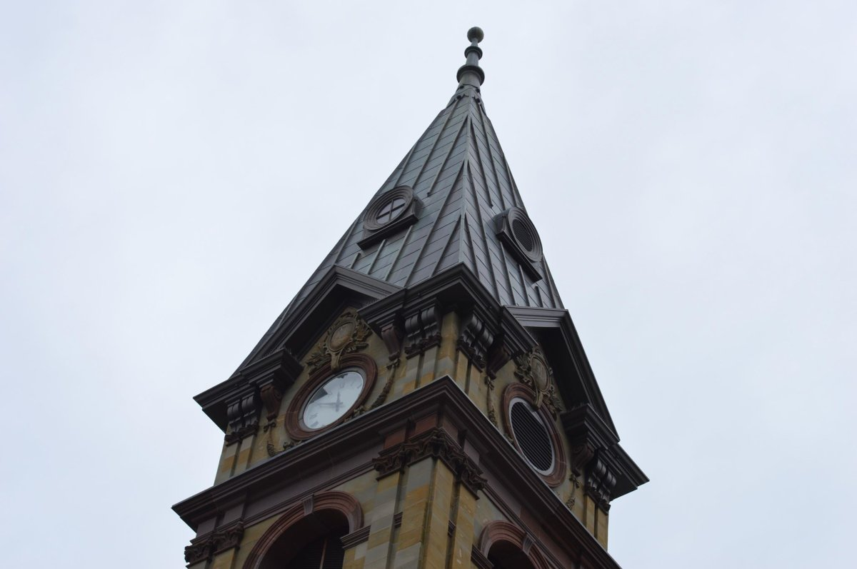 The clock tower of Halifax City Hall is pictured on Oct. 3, 2018.