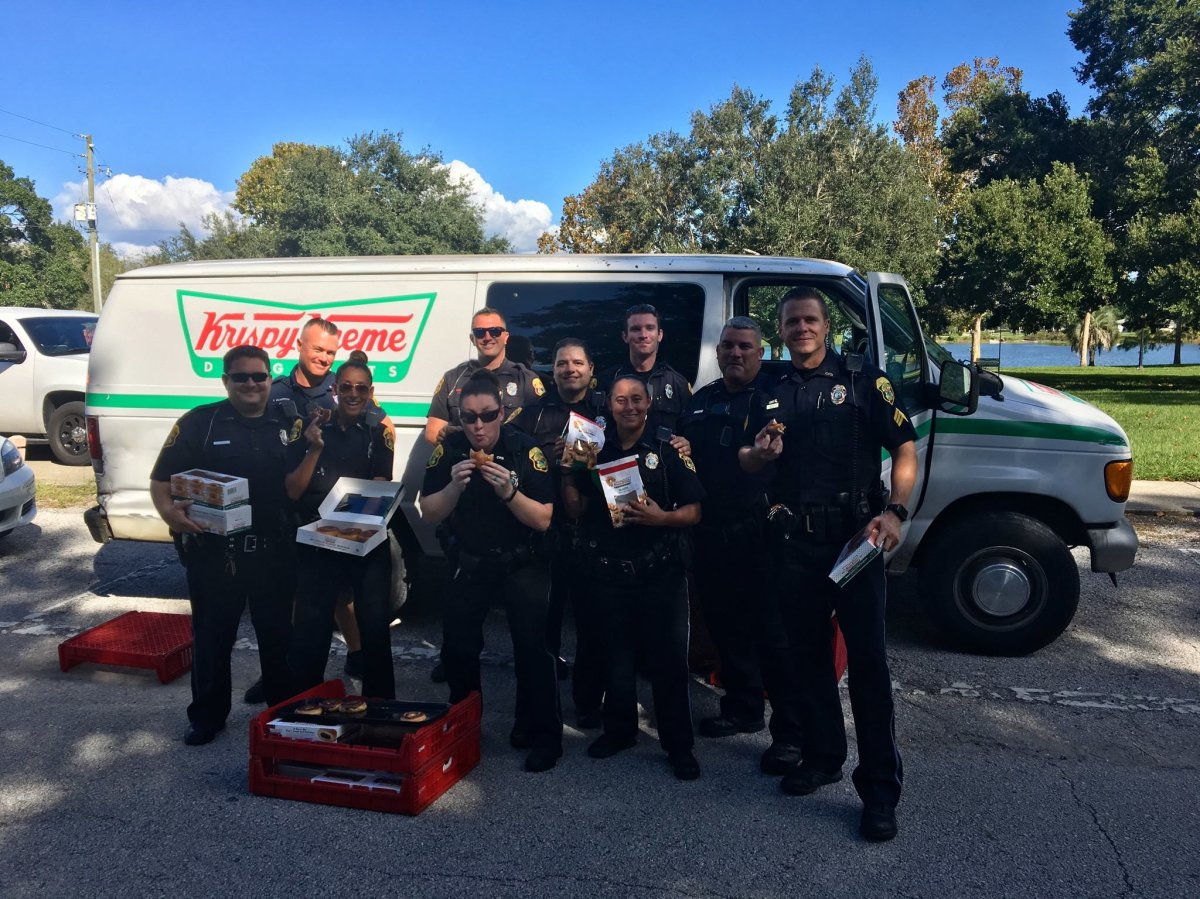 Police in Florida tracked down a stolen Krispy Kreme truck full of tasty doughnuts and offered up the goods to the homeless, after saving a couple of treats for themselves, naturally.