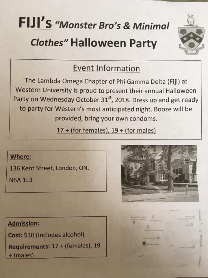 Officials with a London fraternity say the chapter had nothing to do with a flyer posted around Western University advertising a party at its Kent St. location.
