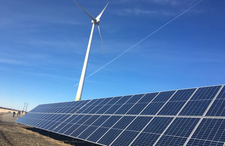 A solar array, combined with a wind turbine battery storage, marked the first utility-scale hybrid solar and wind power site in Saskatchewan, located on Cowessess First Nation. It's the first known wind-solar battery storage project in the country.