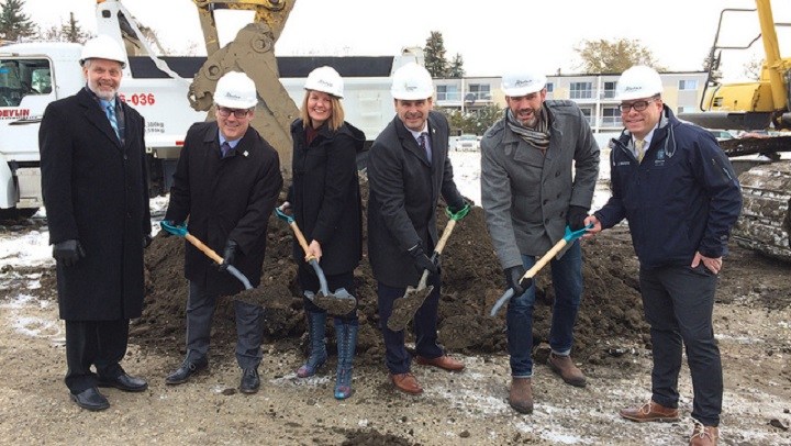 The government of Alberta, City of Edmonton and Capital Region Housing break ground at the future Londonderry community housing site.