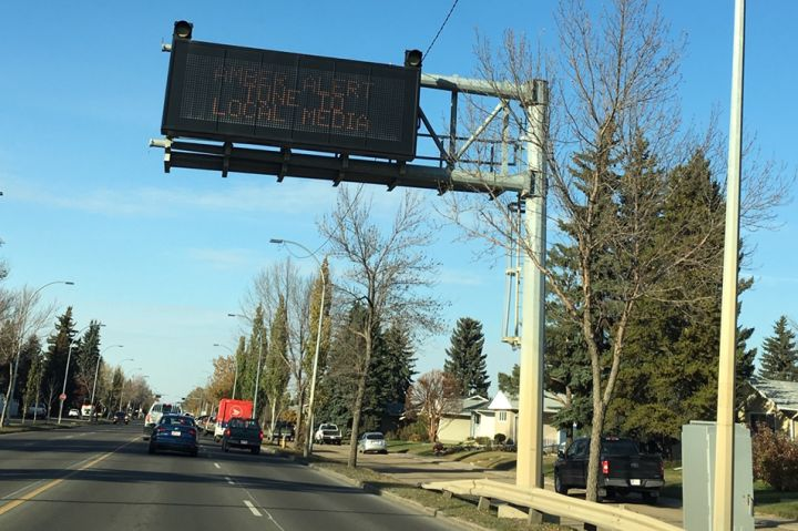 An Amber Alert message is seen on an Edmonton road on Oct. 5, 2018. The abduction of a 14-year-old girl in northeast Edmonton prompted police to issue an Amber Alert on Friday afternoon.