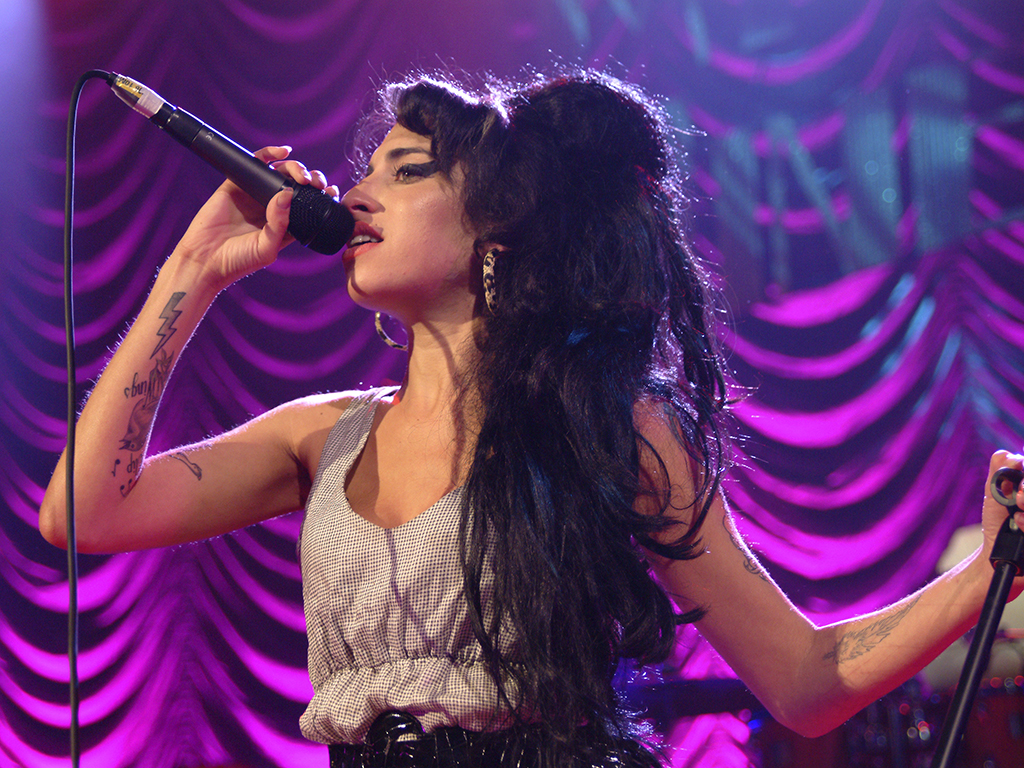 Amy Winehouse, performing at Shepherd's Bush in London, England.