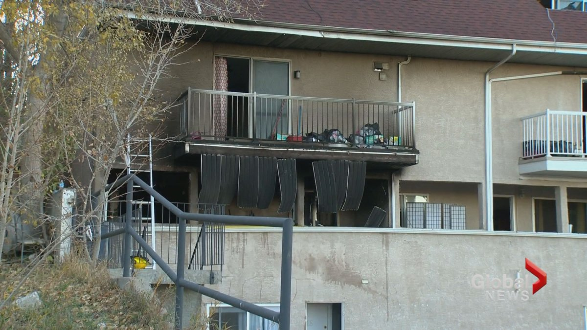 At least two units were damaged by fire in a blaze in an apartment building in north Calgary on Wednesday, Oct. 17.