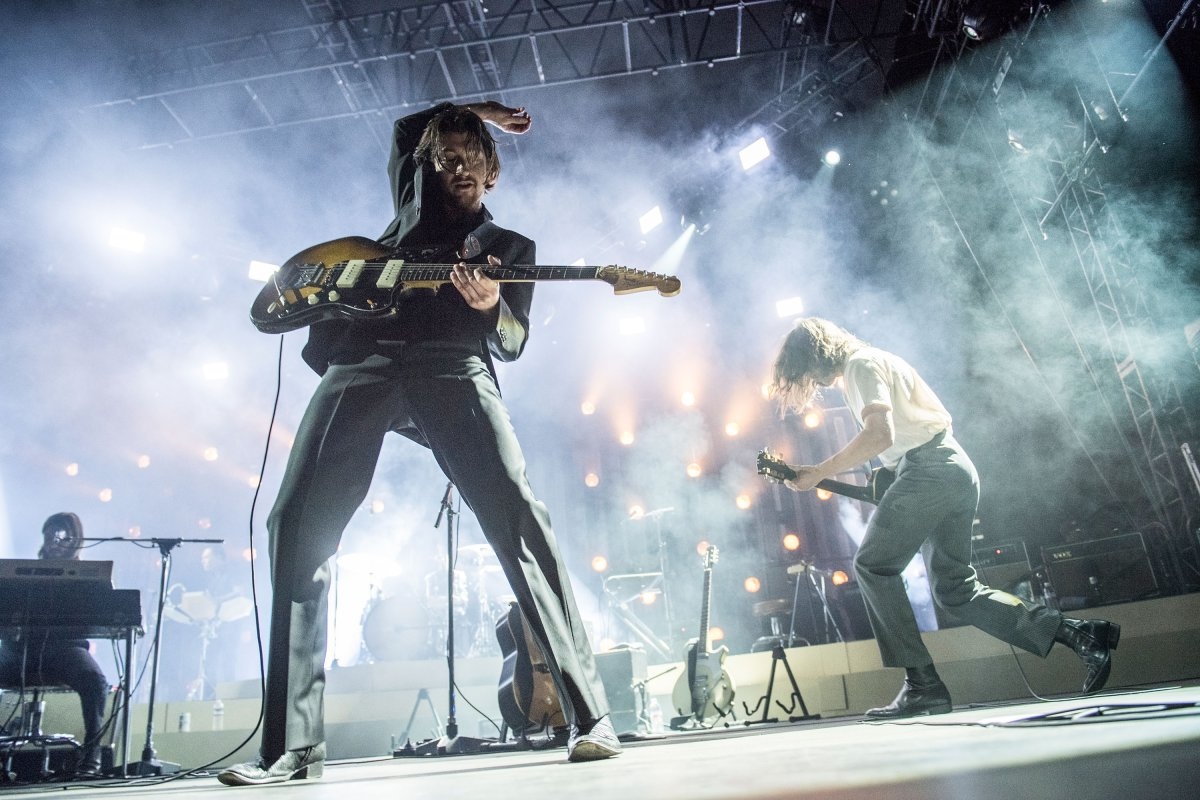 Alex Turner and Jamie Cook of Arctic Monkeys perform at Hollywood Forever on May 5, 2018 in Hollywood, Calif. Despite their success, the band hates their name.