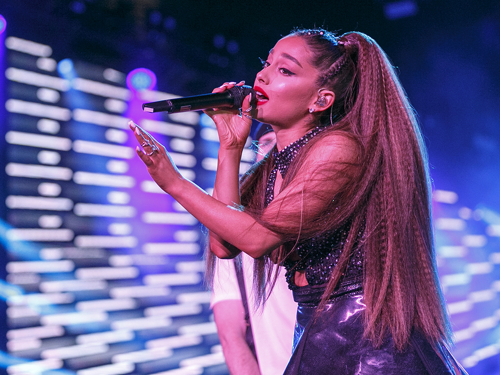 Ariana Grande performs onstage during the 2018 iHeartRadio concert.