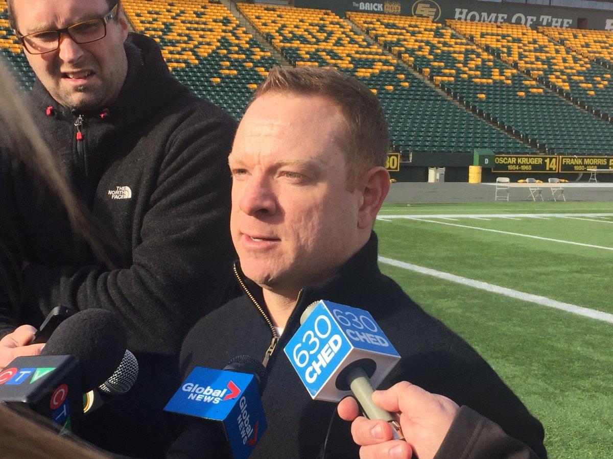 Edmonton Football Team general manager Brock Sunderland addresses the media following practice on Monday, Oct. 29, 2018.