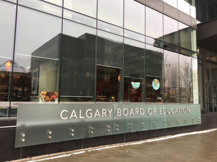 The exterior of the Calgary Board of Education building in downtown Calgary.