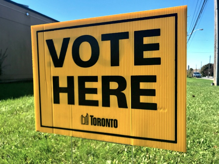 A City of Toronto voting location sign.
