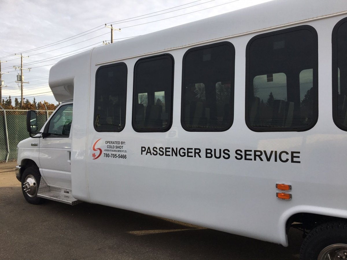 Cold shot is launching new bus services in northern Alberta, Wednesday, Oct. 31, 2018.