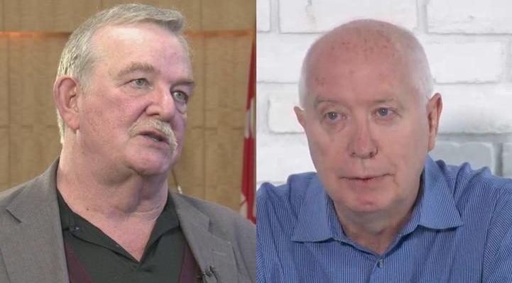Five-term mayor Derek Corrigan (left) is neck and neck with independent mayoral candidate Mike Hurley.