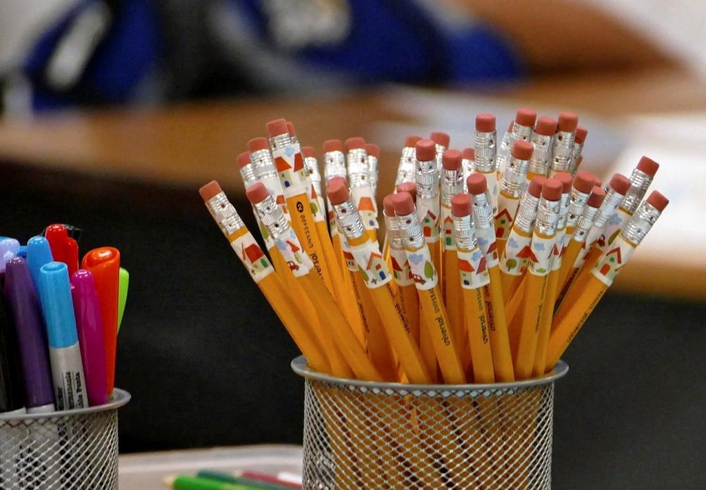 Pencils are at the ready on a teachers desk at Bruns Academy in Charlotte, N.C. on July 24, 2017. Some Ontario educators are raising concerns about the province's move to halt funding that would allow current teachers to gain math qualifications in the wake of an announcement that new teachers would be required to pass a proficiency test on the subject before entering the classroom. THE CANADIAN PRESS/AP, Davie Hinshaw/The Charlotte Observer.
