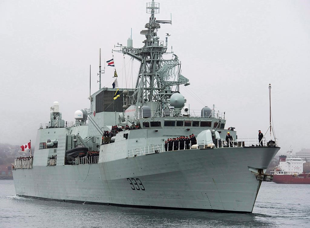 HMCS Toronto heads to the Arabian Sea as part of Operation Artemis, in Halifax on Monday, Jan.14, 2013. A Royal Canadian Navy ship taking part in NATO exercises off the United Kingdom was forced to head into port in Belfast after experiencing a loss of power at sea.