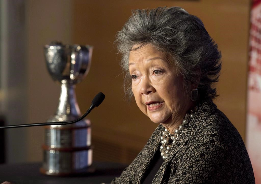 Former Governor General Adrienne Clarkson speaks as she donates the Clarkson Cup to the Hockey Hall of Fame in Toronto on March 7, 2013. Prime Minister Justin Trudeau says he'll reconsider the perks and supports Canada gives former Governors General.