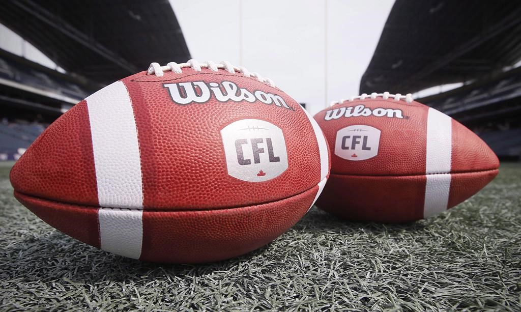 New CFL balls are photographed at the Winnipeg Blue Bombers stadium in Winnipeg Thursday, May 24, 2018. The company hoping to bring a CFL team to the Maritimes has proposed Halifax harbour's Shannon Park as the site for a 24,000-seat stadium. The proposal by Maritime Football Ltd. estimates construction costs between $170,000 and $190,000 with both municipal and provincial funding support.