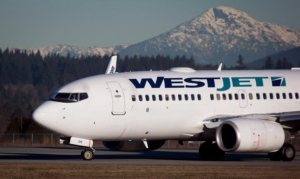 A pilot taxis a Westjet Boeing 737-700 plane to a gate after arriving at Vancouver International Airport in Richmond, B.C., on February 3, 2014.