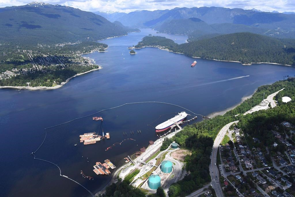 The National Energy Board (NEB) today released a hearing order setting out next steps and schedule as well as requests for information from Trans Mountain and Federal Authorities required for its reconsideration of aspects of the Trans Mountain Expansion Project pertaining to project-related marine shipping. A aerial view of Kinder Morgan's Trans Mountain marine terminal, in Burnaby, B.C., is shown on Tuesday, May 29, 2018. TAPTMX1.cpo THE CANADIAN PRESS Jonathan Hayward.