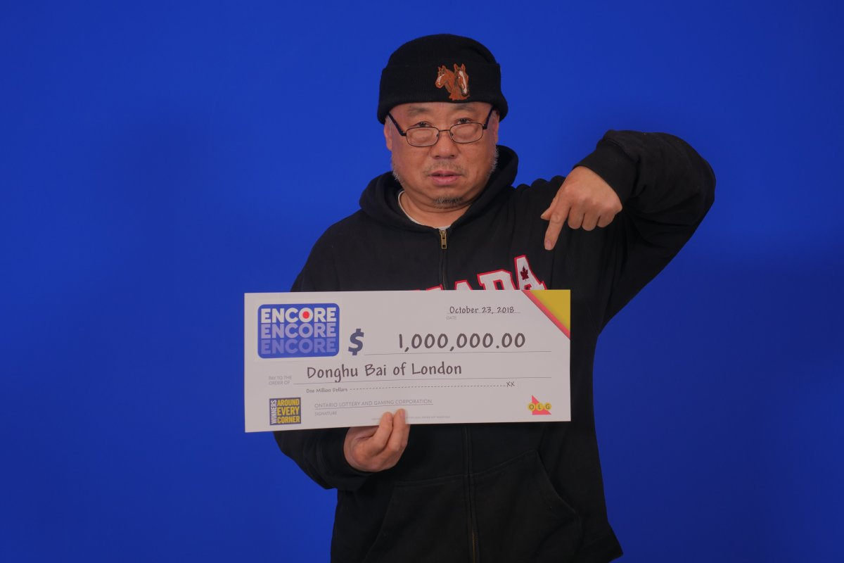 Londoner Donghu Bai won $1-million with ENCORE in the Oct. 13 LOTTO 649 draw.