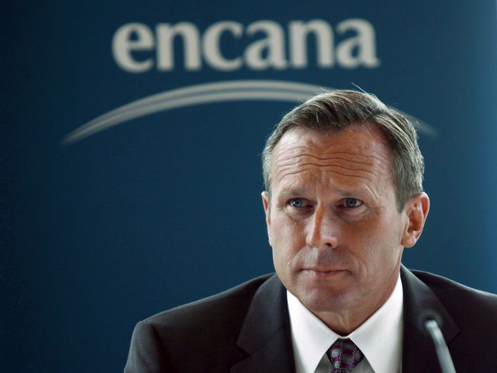 Doug Suttles, CEO of Encana Corp., speaks to reporters in Calgary, Alta., Tuesday, June 11, 2013. Suttles says government policy is making Canada an increasingly uncompetitive place to drill for oil and gas.
