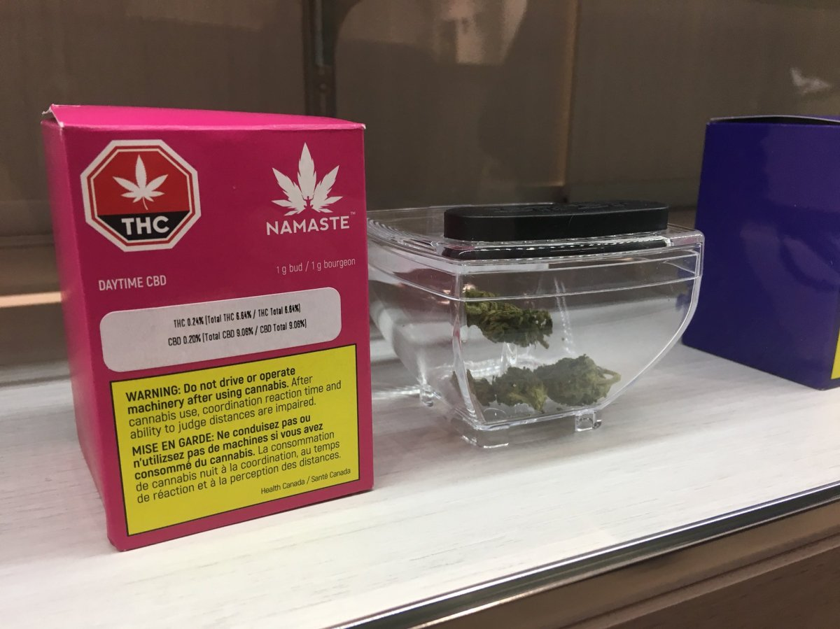 Marijuana products on display inside a Cannabis NB store in Moncton on Oct. 17, 2018.
