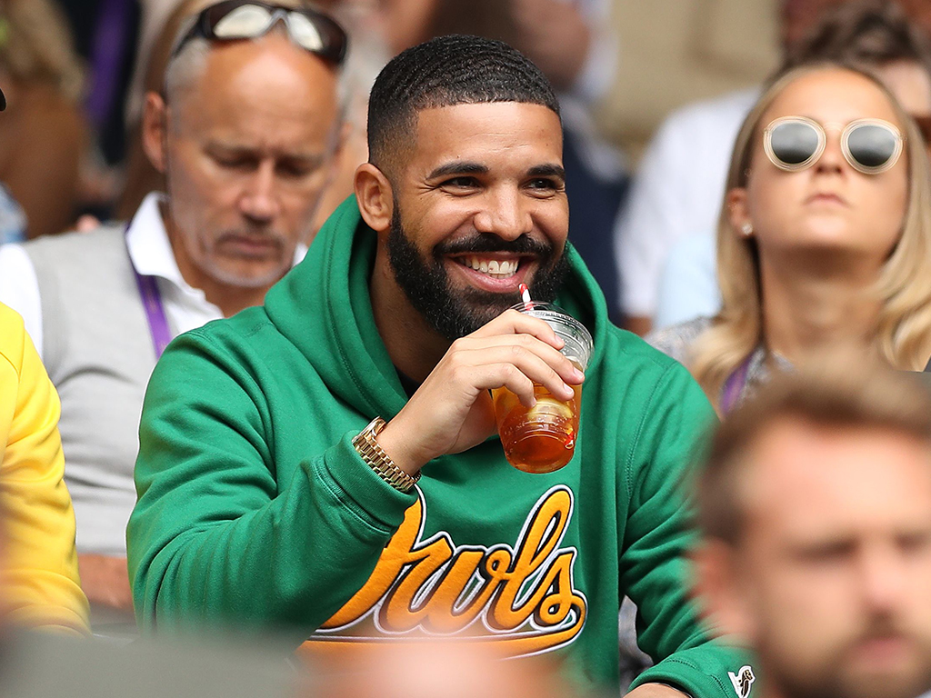 Drake attends the women's singles quarter-final match at the 2018 Wimbledon Championships in London, England on July 10, 2018.