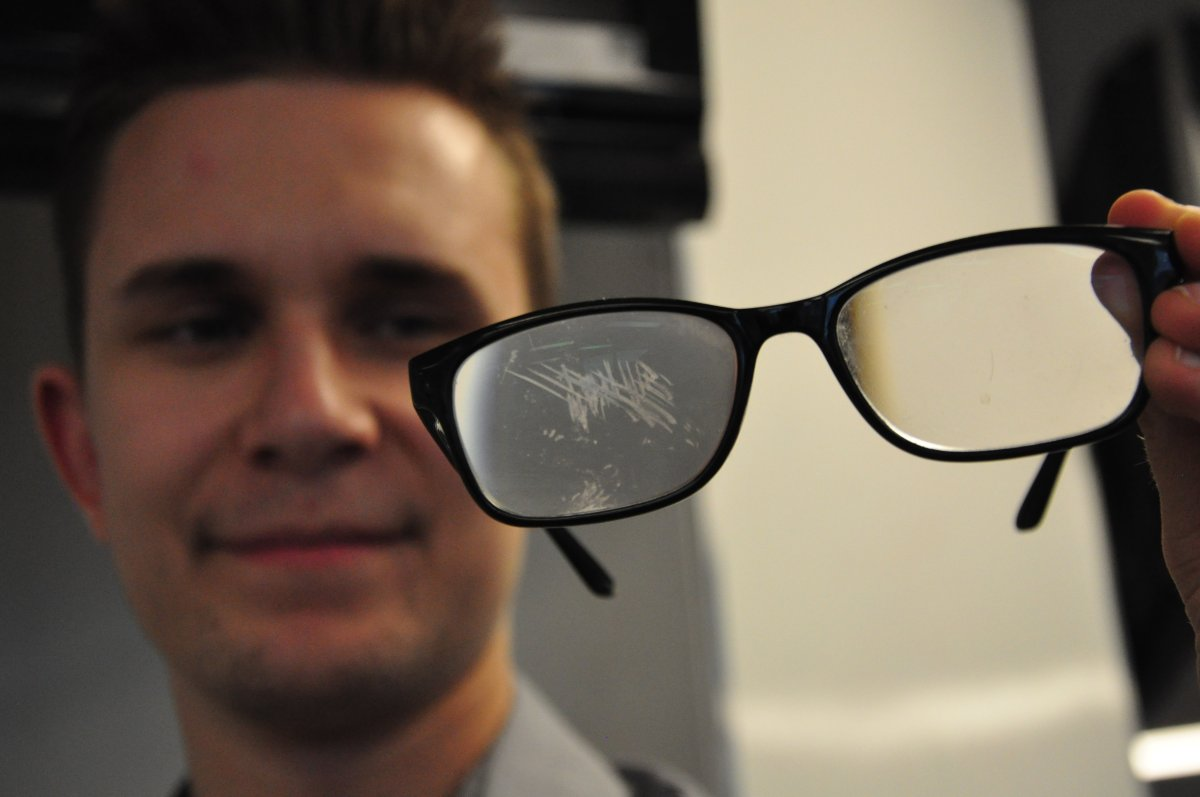 New Global News reporter Marek Tkach shows off his scratched glasses.