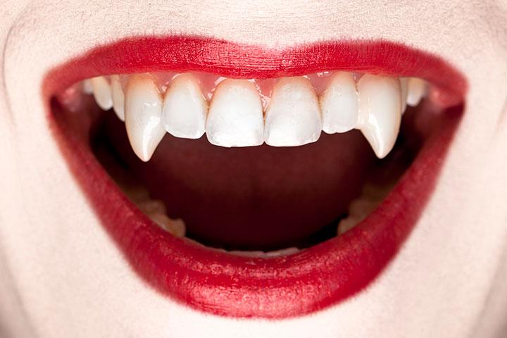 Halloween vampire teeth. Getty Images.