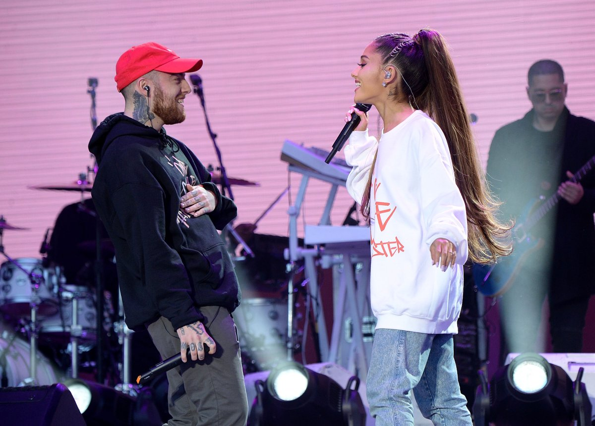 Mac Miller (L) and Ariana Grande perform on stage during the One Love Manchester Benefit Concert at Old Trafford Cricket Ground on June 4, 2017 in Manchester, England.