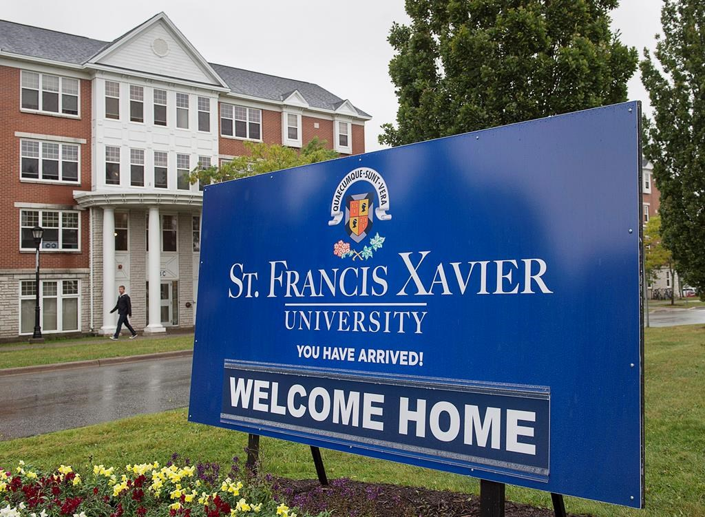 A sign marks one of the entrances to the St. Francis Xavier University campus in Antigonish, N.S. on Friday, Sept. 28, 2018.