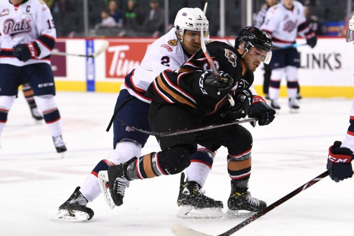 The Pats ended their three-game road trip with a 4-3 overtime win against the Calgary Hitmen on Sunday.