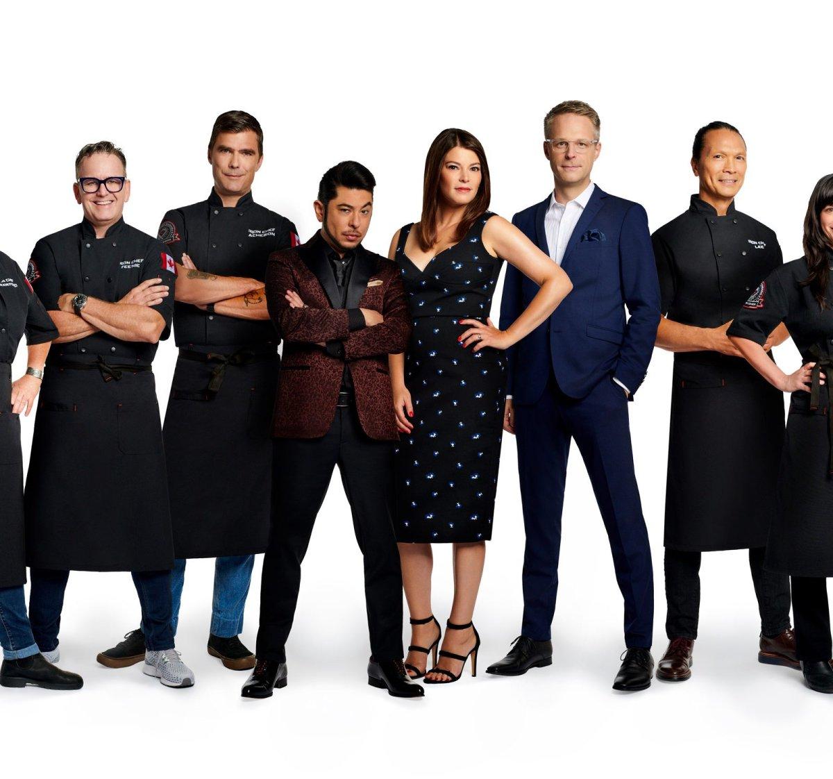 L to R: Lynn Crawford, Rob Feenie, Hugh Acheson, Jai West, Gail Simmons, Chris Nuttall-Smith, Susur Lee and Amanda Cohen for Iron Chef Canada.