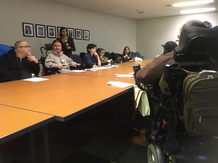 Disability rights activists are staging a sit-in at the Quebec Ombudsman's office. Wednesday, Oct. 31, 2018.