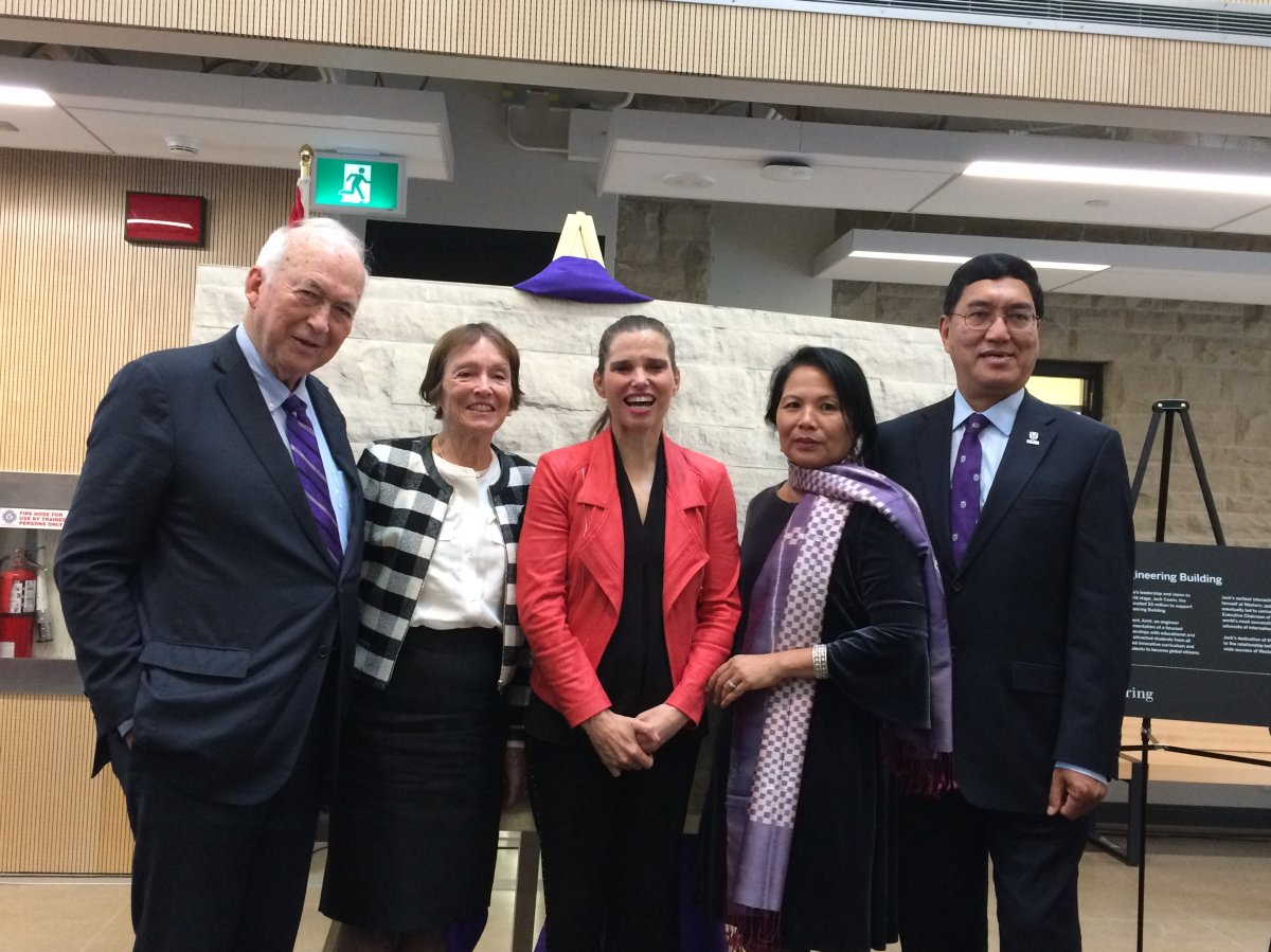 """(From left to right) Western university's 22nd chancellor Jack Cowin, his wife Sharon Cowin, Federal Minister of Science and Sport Kirsty Duncan, Meena Chakma, and Western university president Amit Chakma were on hand for the grand opening of the """"Amit Chakma Engineering Building"""" on Friday, October 12, 2018."""