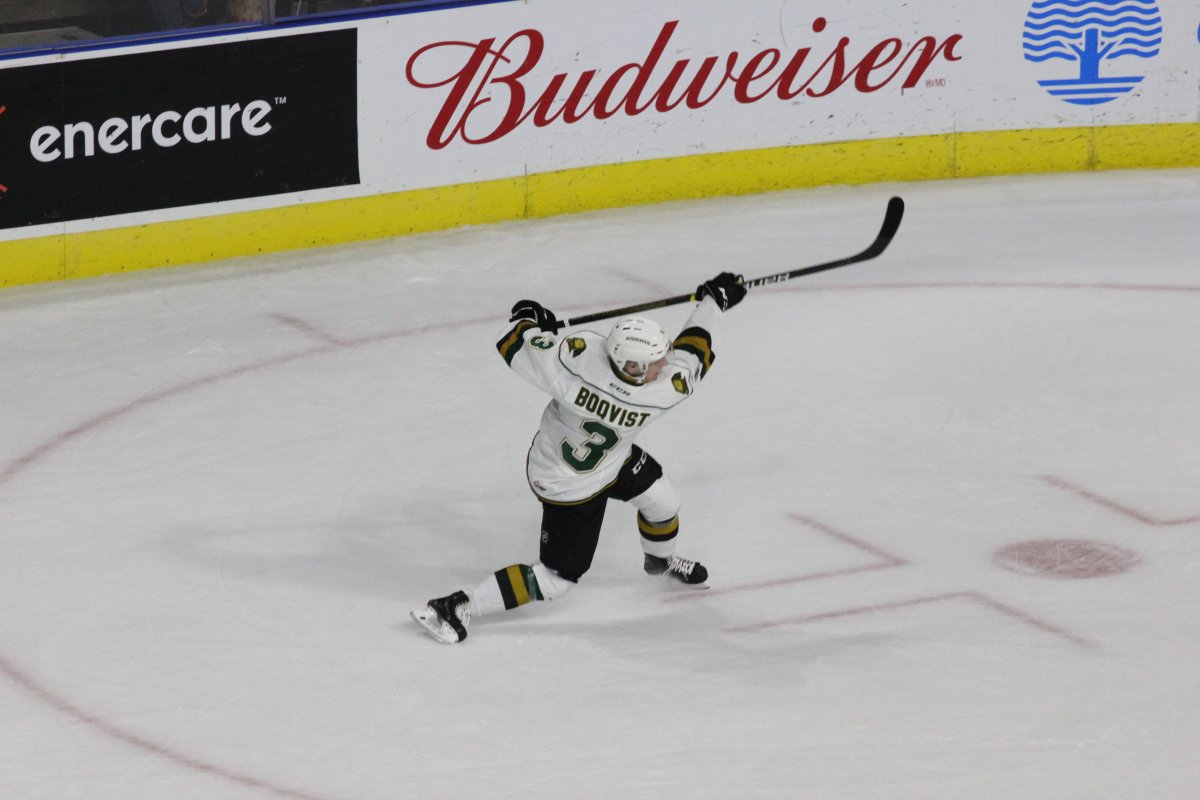 Adam Boqvist unleashes a shot in a game for the London Knights.