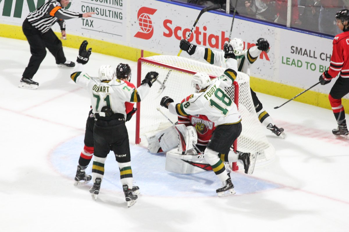 London, Ont., Nathan Dunkley of the London Knights celebrates what would be the game-winning goal in a 4-1 victory over the Owen Sound Attack.