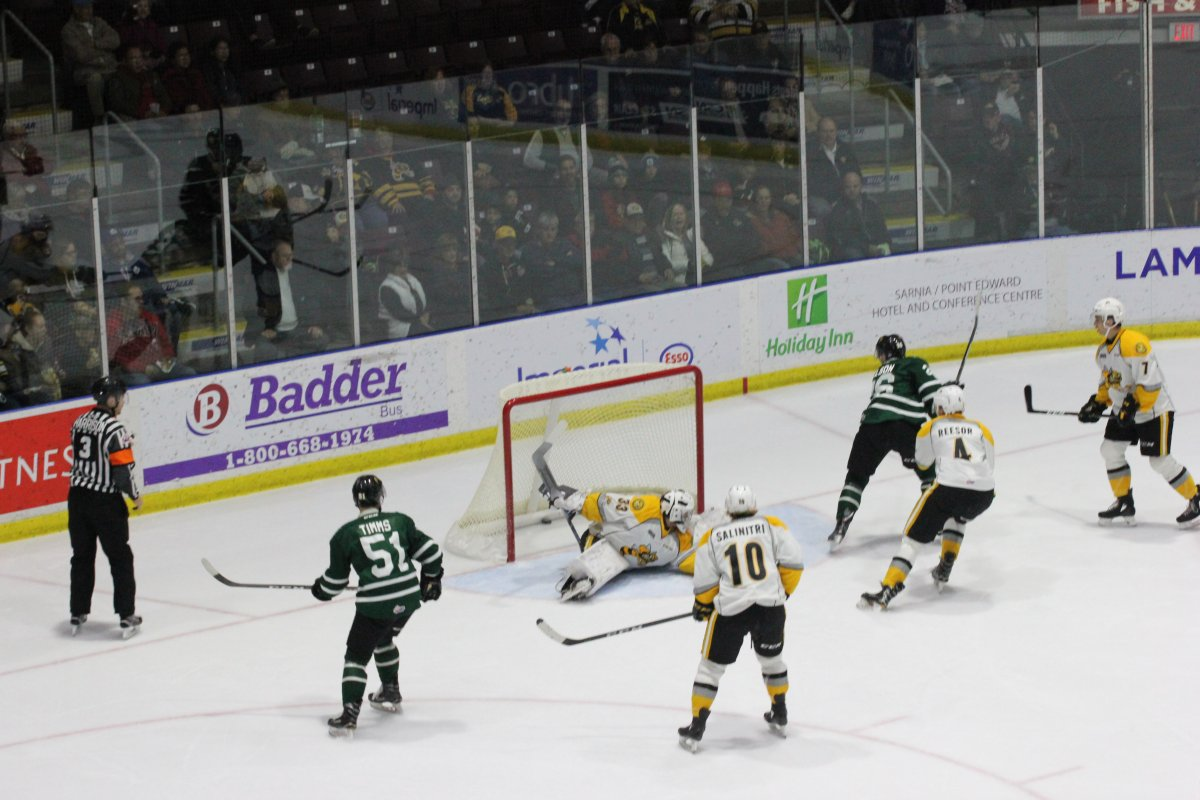 Josh Nelson of the London Knights backhands home the game-winning goal in the second period of a 4-2 London victory over the Sarnia Sting.