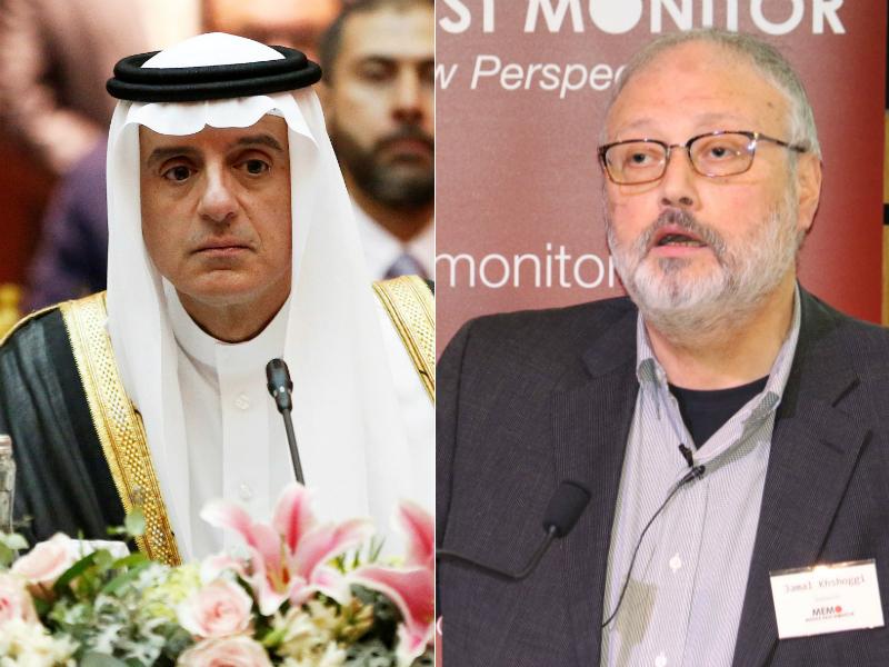 At left, Saudi Foreign Minister Adel al-Jubeir. At right, Jamal Khashoggi.