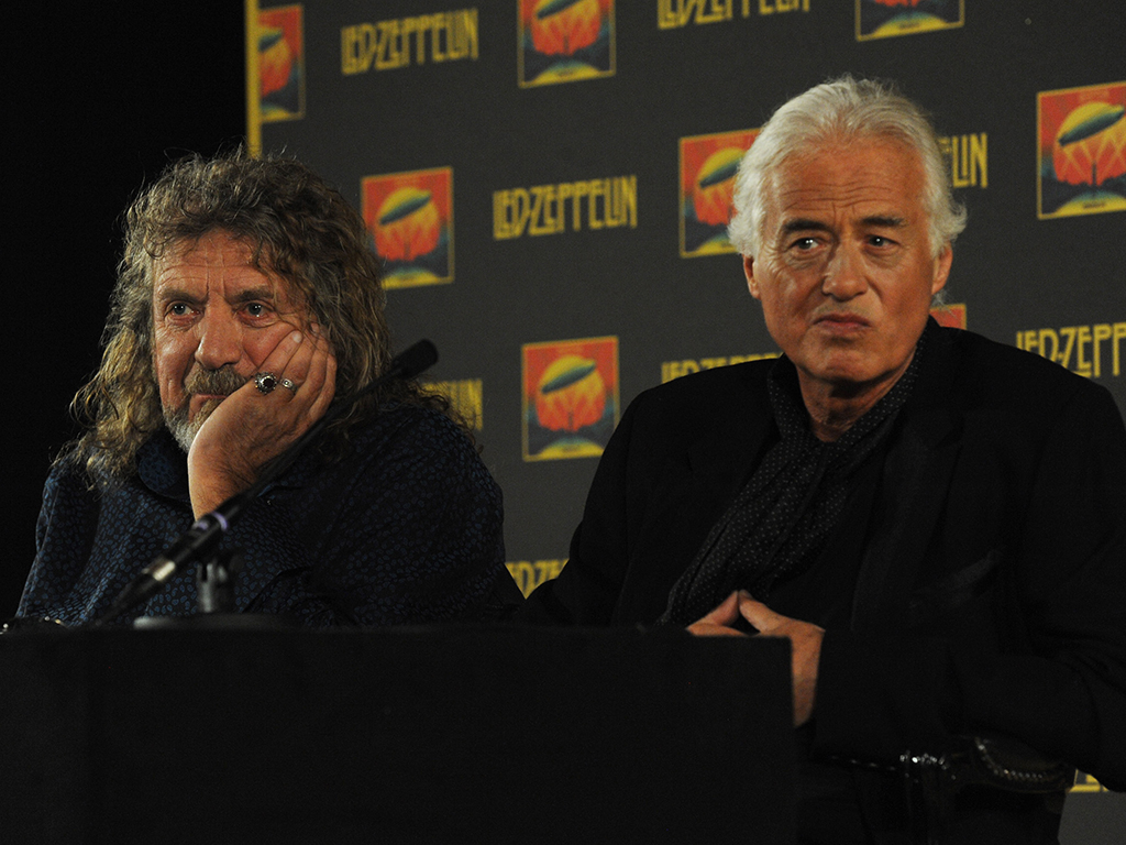 (L-R) Robert Plant and Jimmy Page attend a press conference to announce Led Zeppelin's new live DVD, Celebration Day, on Sept. 21, 2012 in London, England.