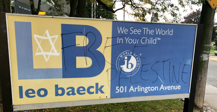 B'Nai Brith Canada says signs at the Leo Baeck Day School were defaced over the long weekend.